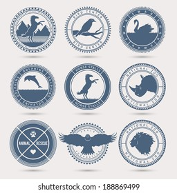 Wild animals badges. EPS10.
