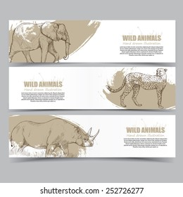 Wild animals banners. drawing vector.