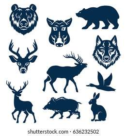 Wild animals and birds for hunting club design templates. Vector isolated icons or grizzly bear, aper boar, wolf and hare or rabbit, deer and elk or reindeer and duck for hunter open season badge.