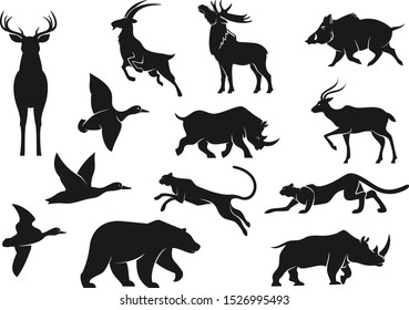 Wild animals and birds isolated vector silhouettes. Deer with antlers and cheetah, boar and mountain goat, panther and grizzly bear, rhinoceros and elk, flying duck birds. Hunting sport animals