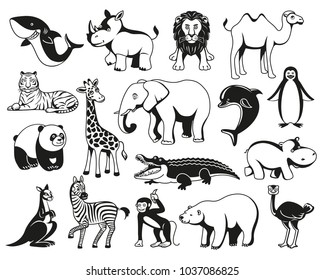 Wild animals cartoon Australia, Asia, the Arctic, Antarctica fauna isolated and sea creatures set. Vector illustration