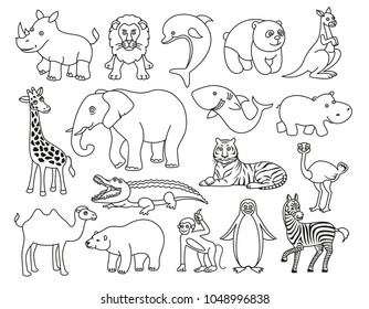 Wild animals cartoon Australia, Asia, the Arctic, Antarctica fauna isolated and sea creatures set. Black and white graphic vector illustration in the line style