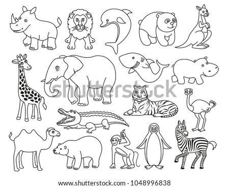Wild Animals Cartoon Australia Asia Arctic Stock Vector Royalty