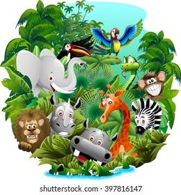 Wild Animals Cartoon on Jungle