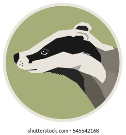 Wild animals collection Badger Geometric style icon round