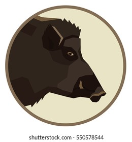 Wild animals collection Wild boar Geometric style  icon round