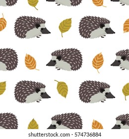 Wild animals collection Hedgehogs and leaves Seamless pattern