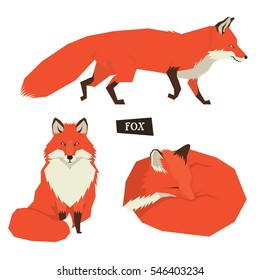 Wild animals collection Sitting Red Foxes Geometric style