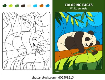 Wild animals coloring page for kids panda bear. Printable design coloring book. Coloring puzzle with numbers of color. Black and white draw with color example. Coloring book. Color numbers book.