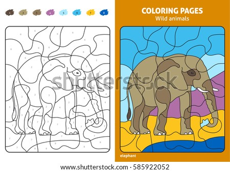 Wild Animals Coloring Page Kids Elephant Stock Vector (Royalty Free ...