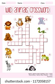 Wild animals crossword template illustration