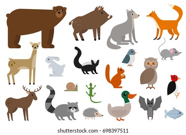 Wild animals elements collection, flat icons set, Colorful symbols pack contains - Fox Wolf Bear Deer Elk Boar Owl Hedgehog Squirrel Mouse Bat Batman. Vector illustration. Flat style design