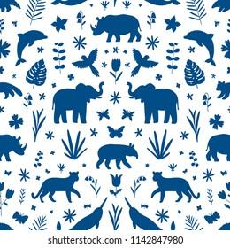 Wild animals, endangered species ornamental seamless pattern