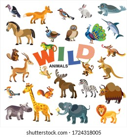 Wild animals in front view and side view large vector cartoon set in flat style isolated on white background.Vector illustration of animals for children.Great for design, print products and souvenirs