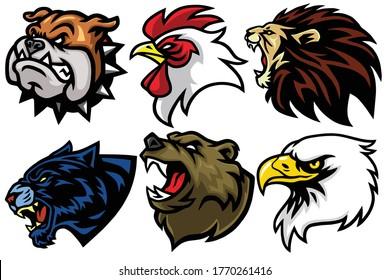 Wild Animals Head Set. Lion, Bear, Eagle, Jaguar, Rooster, Bulldog Vector Esport Mascot Logo Design Icon Avatar Illustration
