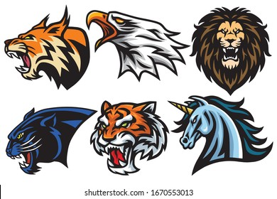 Wild Animals Heads Logo Mascot Set. Lion, Tiger, Jaguar, Lynx, Eagle, Unicorn - Vector Mascot Logo Design Pack