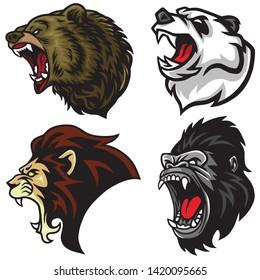Wild Animals Heads Set. Lion, Bear, Gorilla, Panda Vector Mascot Logo Design Illustration