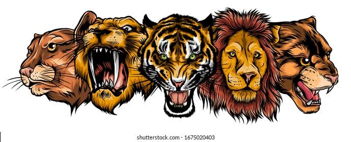 Wild Animals Heads Set. Lion, Tiger, Jaguar, Lynx - Vector Mascot Logo Design