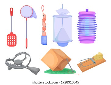 Wild animals and insects traps set. Metal trap for bear, mousetrap, net and box isolated on white. Cartoon vector illustration for hunter tools, pest repelling, animal catching concept