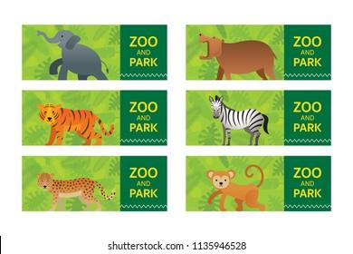 Wild Animals in Jungle, Banner, Ticket, Elephant, Hippopotamus, Tiger, Zebra, Leopard and Monkey