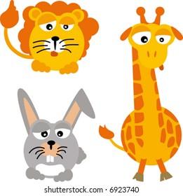 wild animals: lion, giraffe and rabbit