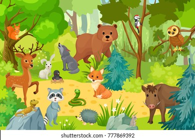 Wild animals on forest. Vector illustration in a cartoon style.