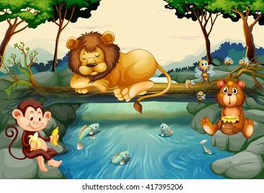 Wild animals on the river illustration