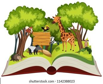 Wild animals open book illustration
