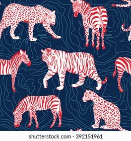 wild animals pattern,  contour background