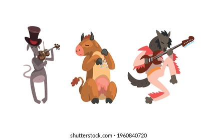 Wild Animals Playing Musical Instruments Set, Wolf, Cow, Donkey Playing Guitar, Violin, Triangle Cartoon Vector Illustration
