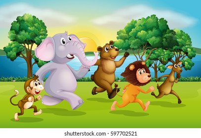 Wild animals racing in the park illustration