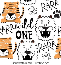 Wild animals seamless pattern with tiger and lion. Vector background design with wild animals for wallpaper, fabric, textile.