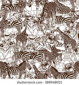 Wild animals seamless pattern. Vector illustration