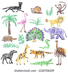 Wild animals set. Crayon like kid`s hand drawn giraffe, elephant, lion, monkey, zebra, crocodile isolated on white. Child`s drawn stroke colorful pastel chalk or pencil vector art. Doodle funny style