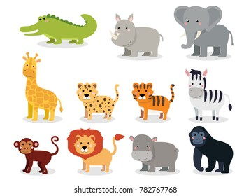 Wild animals set in flat style isolated on white background. Vector illustration. Cute cartoon animals collection: crocodile, rhinoceros, elephant, giraffe, leopard, tiger, zebra, monkey, lion, hippo