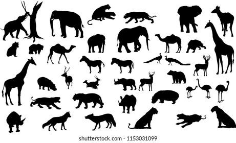 Wild animals set silhouette