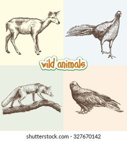 Wild drawing of animals Clipart Wild Animals Set Of Sketches Made By Hand Tail And Fur Wild Animals Sketch Images Stock Photos Vectors Shutterstock