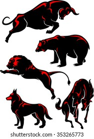 Wild Animals Set-Simplified animal silhouettes in the wild