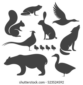 Wild animals silhouette. Isolated animals on white background. EPS 10. Vector illustration