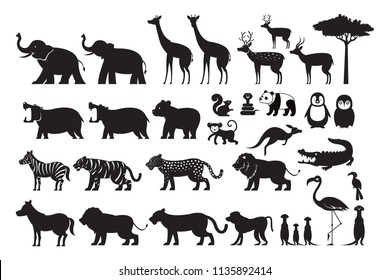 Wild Animals Silhouette Vector Set, Zoo, Safari, Front view and Side View