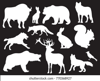 Wild animals silhouettes of set on black background. Vector illustration