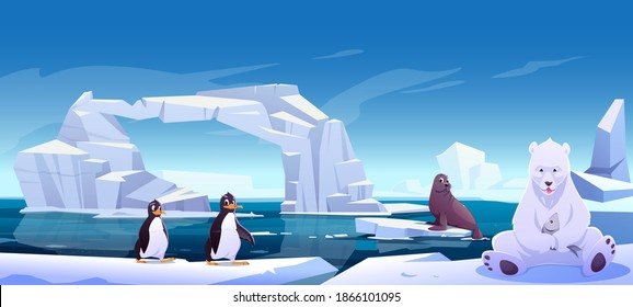 Wild animals sitting on ice floes in sea, white bear holding fish, penguins and seal. Antarctica or North Pole inhabitants in outdoor area, ocean. Beasts in nature fauna, Cartoon vector illustration