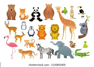 Wild Animals Vector Set, Zoo, Safari, Front view and Side View