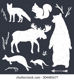 Wild animals vector silhouettes. Forest design. Great for print, banner, web design.