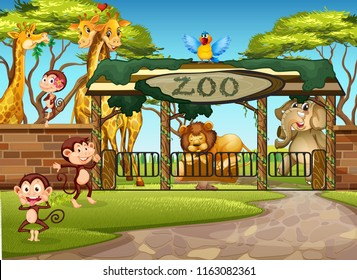 Wild animals in the zoo illustration