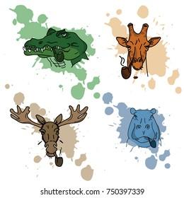 wild aquarelle blur colored animals/ crocodile, giraffe, moose, behemoth, all smoking pipe