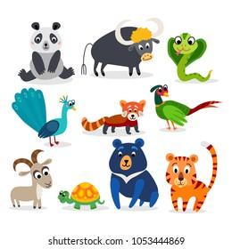 Wild Asia animals set in flat style isolated on white background. Including peacock, panda, Himalayan bear, pheasant, turtle, Mountain goat, red panda, tiger, snake cobra, gaur