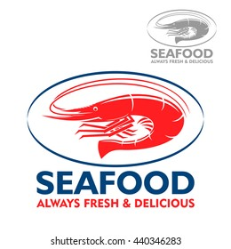 Wild atlantic prawn with curved tail red icon in blue oval frame. Marine food packaging, seafood restaurant or fish market design