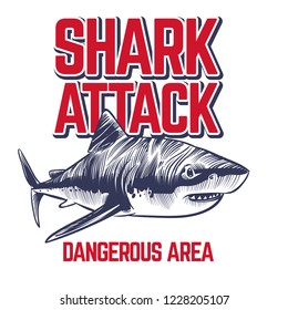 Wild attacking shark. Scary jaws of shark. Vintage ocean surf t-shirt sticker vector design
