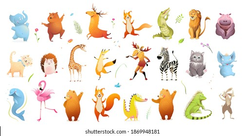 Wild baby animals big clipart collection of wildlife illustration. Safari animals and pets for kids design, vector cartoon bundle. - Shutterstock ID 1869948181